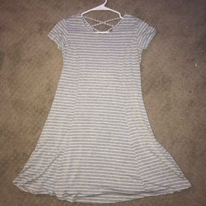 grey and white stripped dress